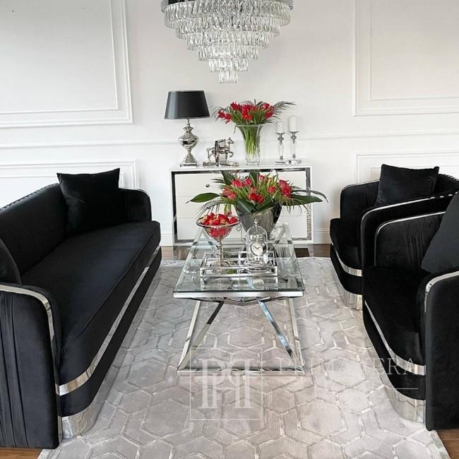 Nowoczesny fotel glamour do salonu, jadalni czarny srebrny MADONNA