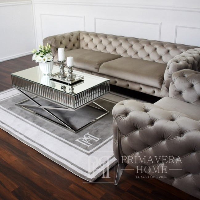 Sofa glamour tapicerowana nowoczesna nowojorska czarna srebrna DIVA SILVER