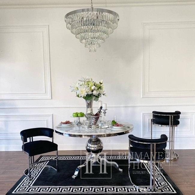 Glamour dining room table round steel silver with white Hermes marbles