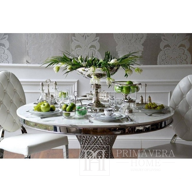 Round table ANTONIO glamour steel silver table with marble top