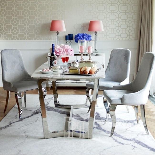 Stół nowoczesny glamour srebrny z białym marmurowym blatem, galmour KENT