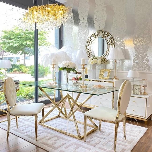 Stół szklany CONRAD GOLD glamour stalowy z przezroczystym blatem złoty
