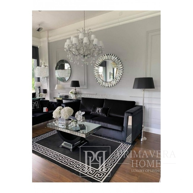 New York Glamour Spiegel Couchtisch für Wohnzimmer silber schwarz MICHELLE M