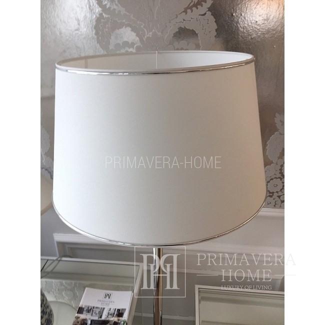 Abażur biały ze srebrną lamówką M 35 cm