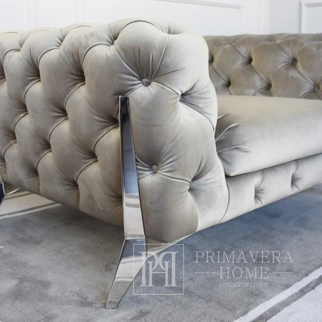 Zestaw 2 foteli pikowanych glamour nowoczesny nowojorski do salonu stal welur szary DIVA