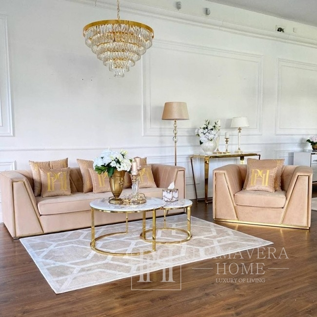Beige velvet quilted sofa modern in a glamor style for a golden living room MONTE CARLO
