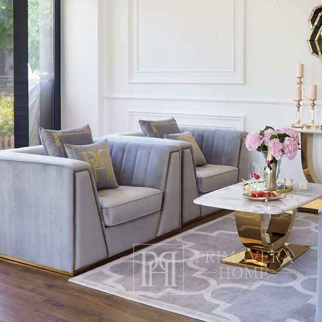 Upholstered armchair MONTE CARLO glamour for the living room modern 90x120x70 gray gold