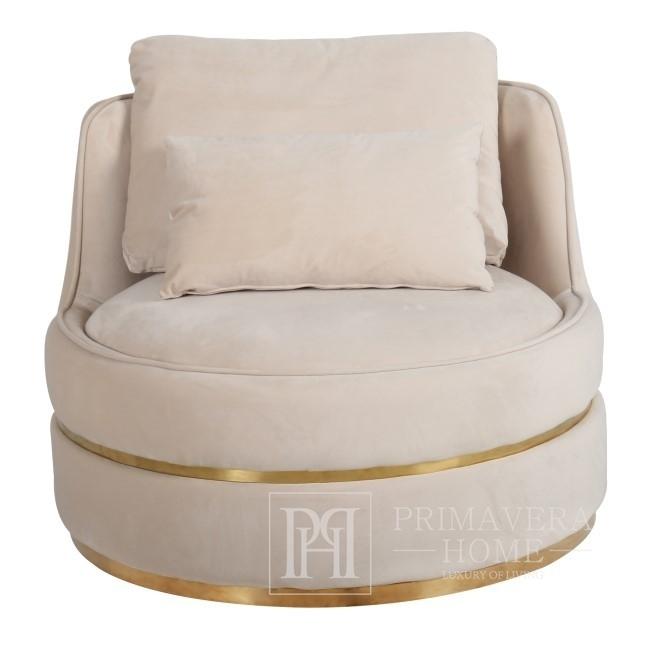 Stylish armchair ROUND stone swivel velvet beige gold 91x92x71cm