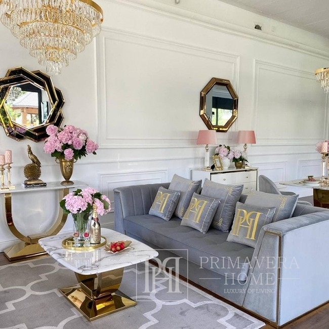 2.Moderne Glamour Konsole mit weißer Marmorplatte Silber ART DECO GOLD