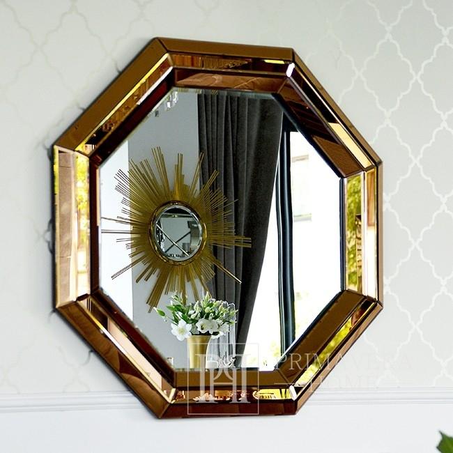 Lustro okrągłe MONA GOLD ośmiokątne 90cm złote