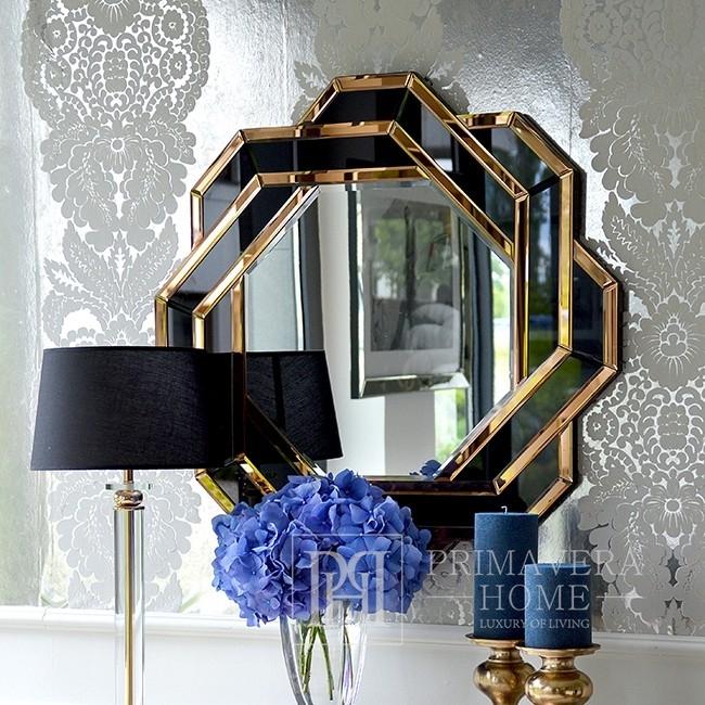 Lustro geometryczne okragłe w dekoracyjnej złoto czarnej ramie DUNE GOLD BLACK