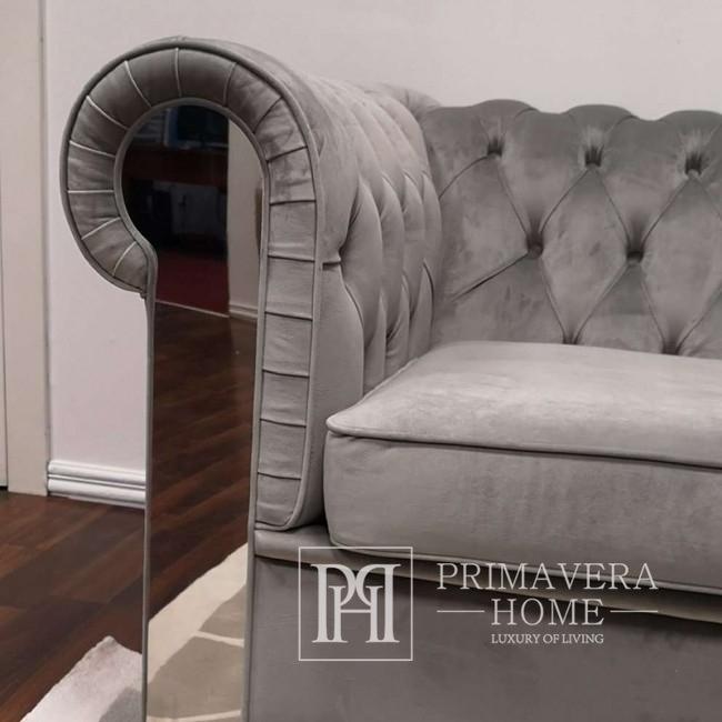 Narożna sofa Aviator z funkcja spania rozkladana, tapicerowana w stylu glamour