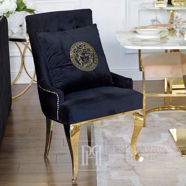 Dekoratives schwarzes Samtkissen mit goldenem logo Medusa