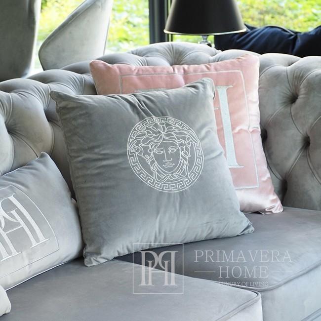Decorative gray velvet pillow with Medusa logo