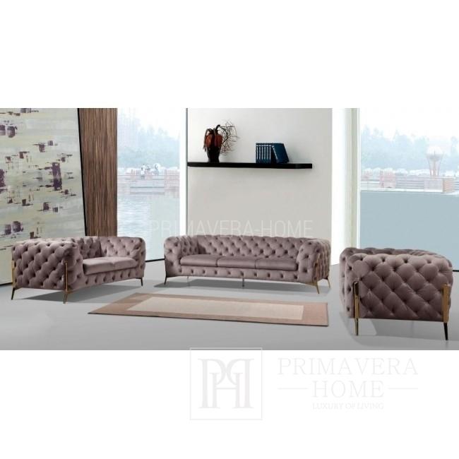 Sofa glamour tapicerowana nowoczesna pikowana czarna złota DIVA GOLD 225 OUTLET