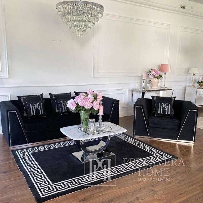 Sofa tapicerowana velvet nowoczesna w stylu glamour do salonu czarna srebrna MONTE CARLO