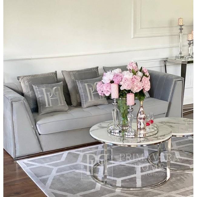Velvet upholstered sofa modern in a glamor style for the living room gray silver MONTE CARLO