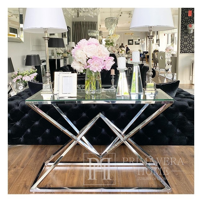 Console stainless steel and glass, glamor silver CONRAD SILVER