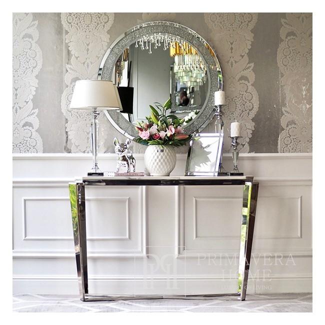 Glamour Konsole mit Marmorplatte Silber RALPH