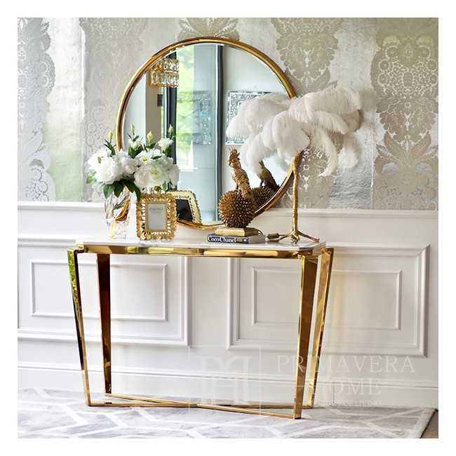 Gold glamor console with marble top RALPH