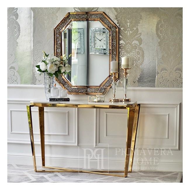 Glamour-Diamantspiegel in goldenem Rahmen, RARE GOLD geometrisch