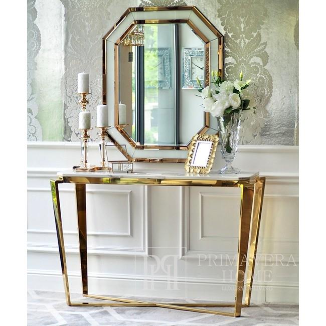 Lustro geometryczne RARE GOLD WHITE glamour 100x80 złote, białe