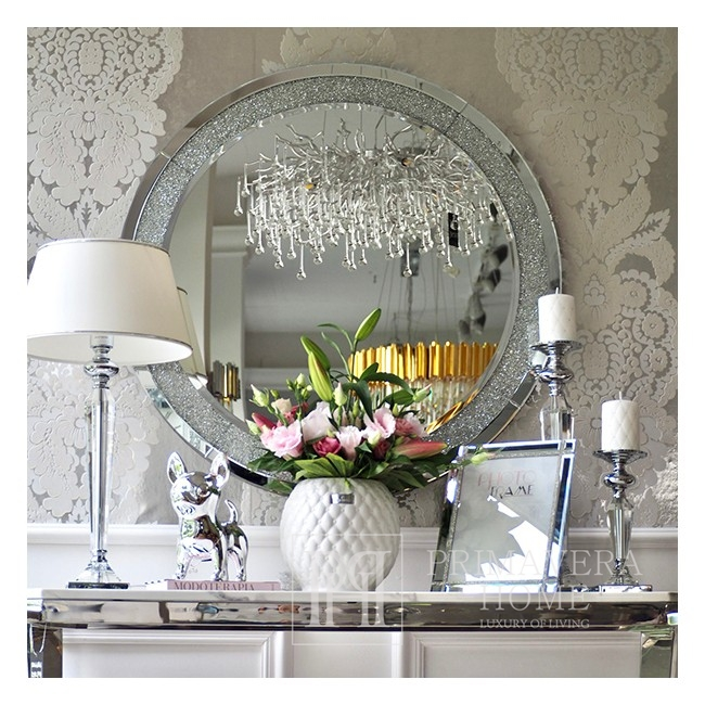 A diamond round mirror in the galmour style PAOLA SILVER