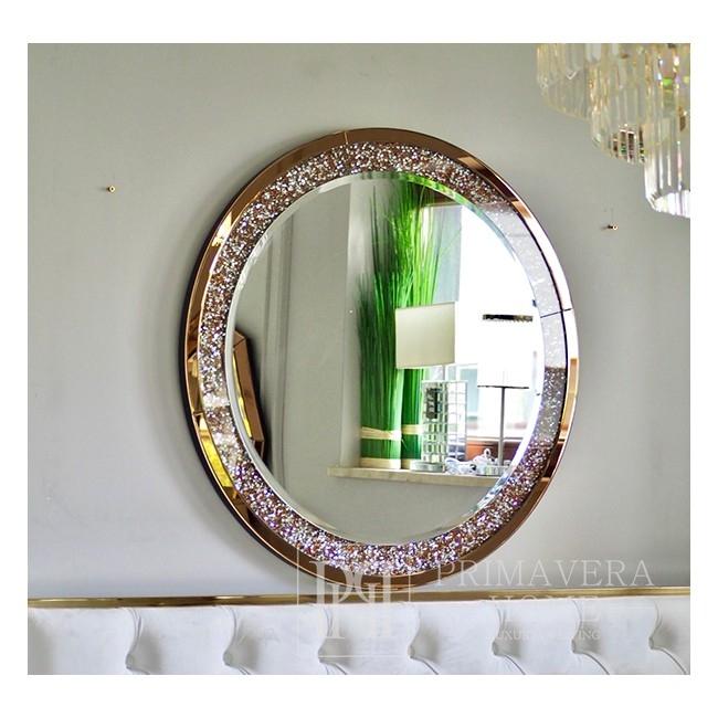 Round mirror PAOLA GOLD diamond, galmour 90cm