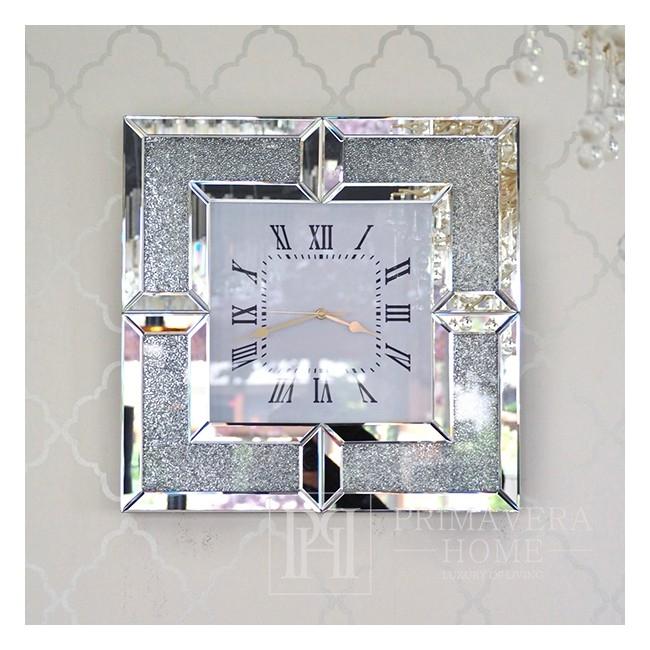 Spiegel-Wanduhr PAOLA 4 SILVER modern Diamant 50x50