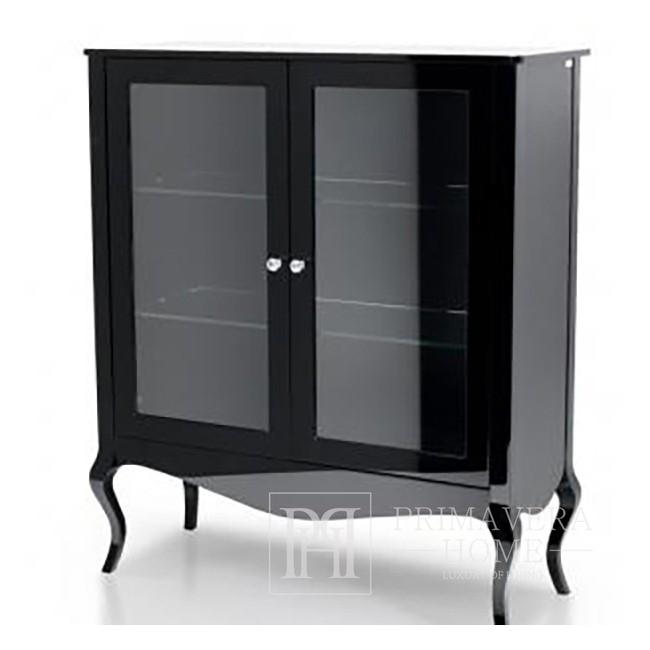 Vitrine zum Wohnzimmer, gebogene Beine weiß glänzend schwarz ELENA GLAMOR
