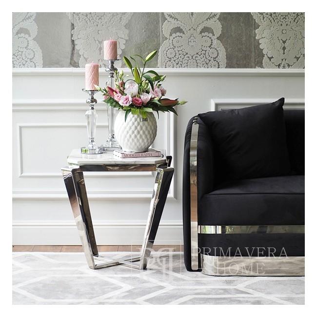Stolik boczny glamour  z białym konglomeratem srebrny chromowany RALPH