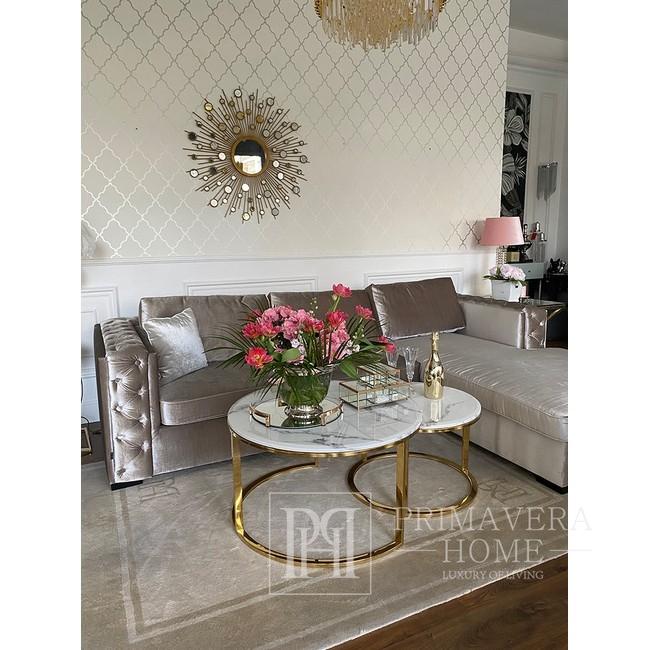 Stolik kawowy MARCO GOLD glamour, złoty z białym marmurem blatem OUTLET