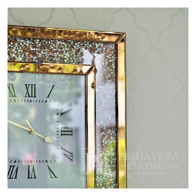 Zegar ścienny PAOLA GOLD diamentowy lustrzany kwadratowy złoty
