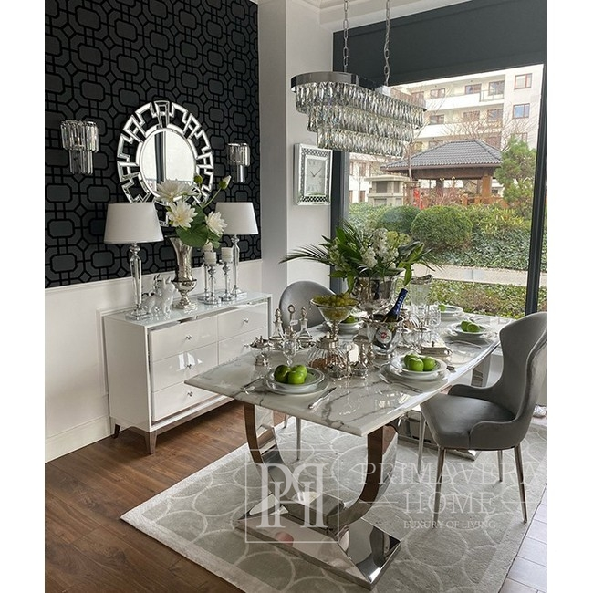 Żyrandol kryształowy MONACO XL lampa wisząca glamour nowoczesny 100x30x30cm srebrny