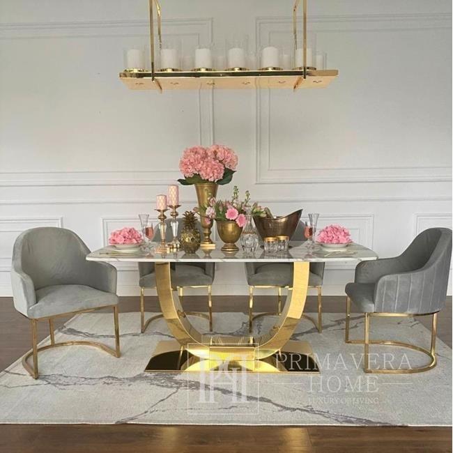 OPERA Gold Glamour Stuhl für das Wohn- und Esszimmer grau