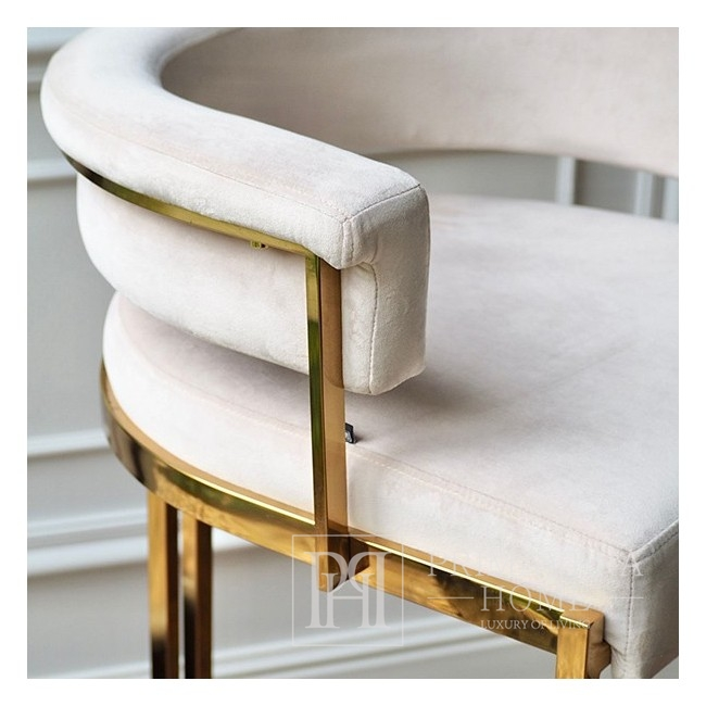 Glamour-Hocker MARCO modern gepolstert für Esszimmer, Bar, Kücheninsel 54,5 × 52,5x97cm gold beige