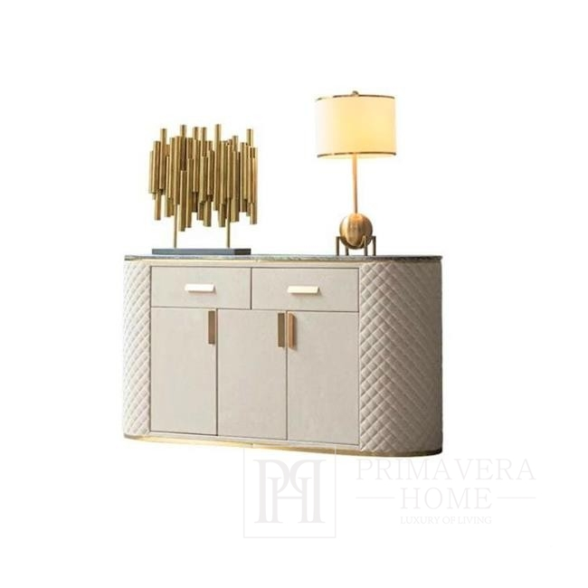 Komoda glamour HERMITAGE stalowa, marmur złota, biała