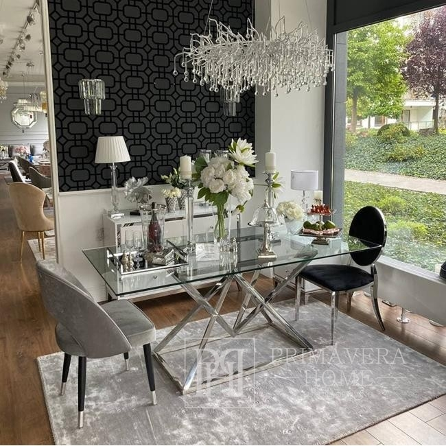 Glamour chair upholstered steel for dining room grey velour CARDINALE GOLD