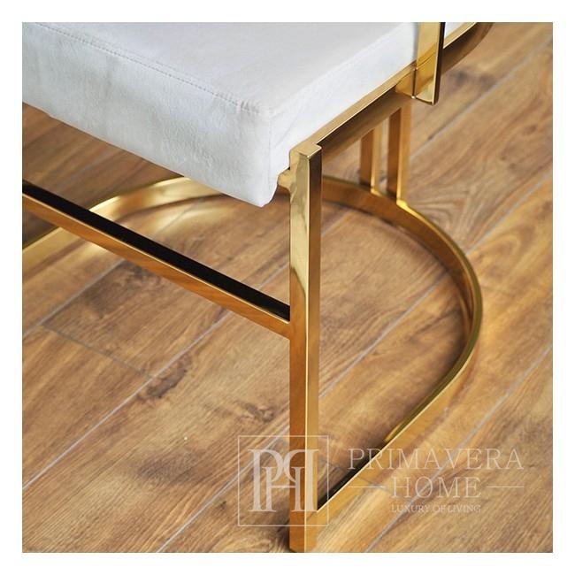 Krzesło tapicerowane glamour nowoczesne do salonu i jadalni beżowy MARCO