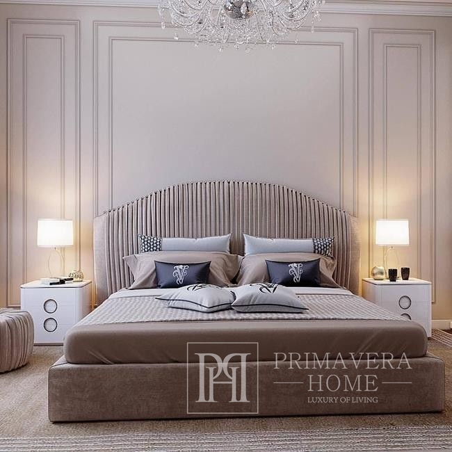 Upholstered glamorous bed CHIC pleated