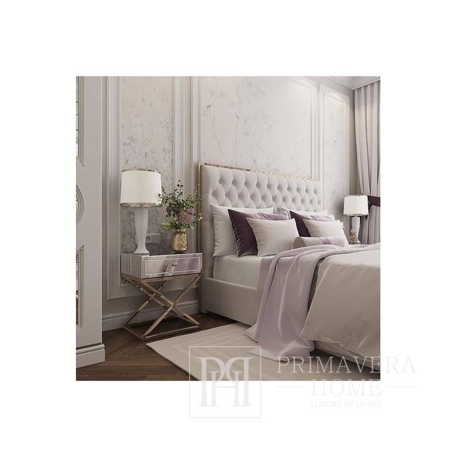 Łóżko kontynentalne glamour tapicerowane pikowane nowoczesne styl nowojorski SPECTRE GOLD