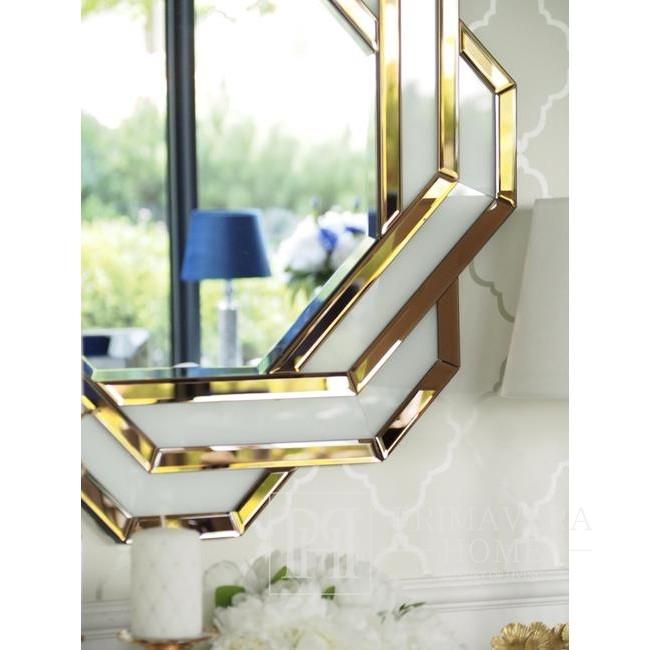 Lustro okrągłe DUNE GOLD geometryczne biało-brązowo złote 85x85