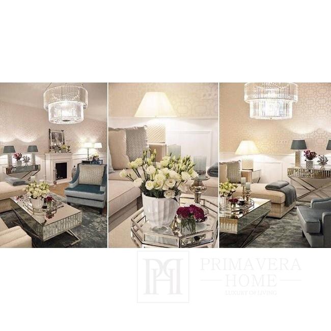 Nowoczena sofa tapicerowana glamour narożna rozkladana z funkcja spania szara, czarna NERO