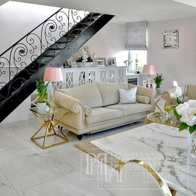 Stolik glamour nowojorski boczny pomocniczy stal nierdzewna szklany blat złoty CONRAD MINI