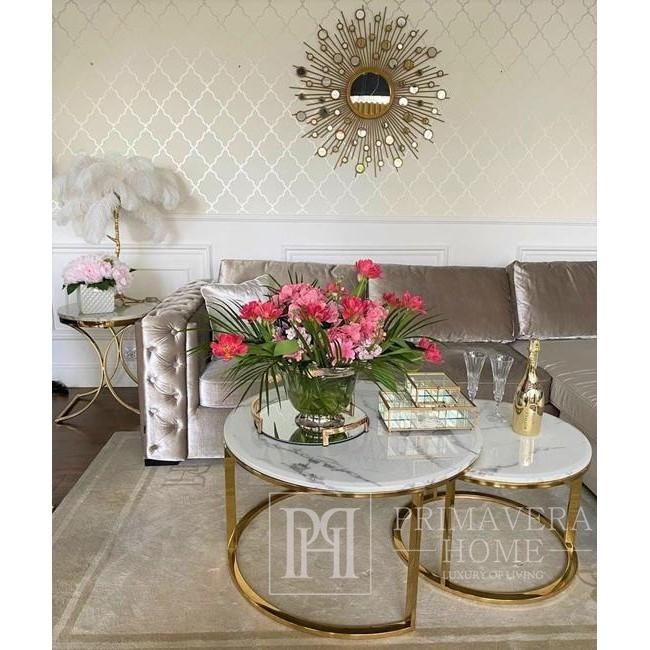 Glamour Couchtisch, modernes Gold mit weißer Steintischplatte MARCO GOLD