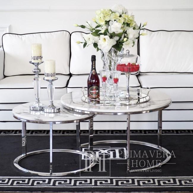 Stolik kawowy nowoczesny srebrny styl glamour z białym kamiennym marmurowym blatem MARCO SILVER