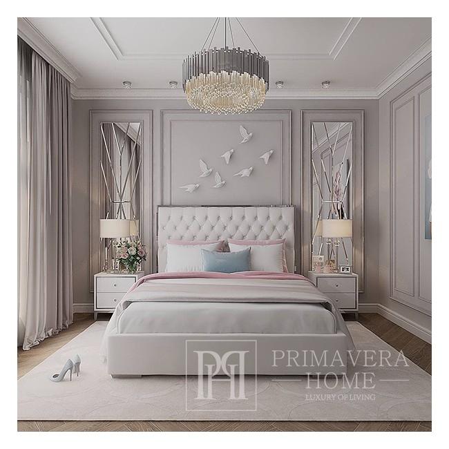 Nachtschrank lackiert weiß silber für Schlafzimmer Glamour Lorenzo S Silver