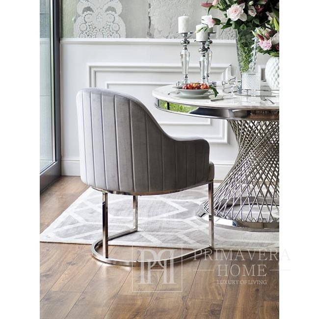 OPERA silver glamour armchair for living room and dining room grey