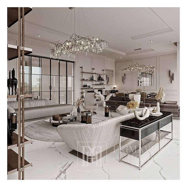 Chandelier, glamour ceiling lamp, modern hanging lamp RAIN L SILVER