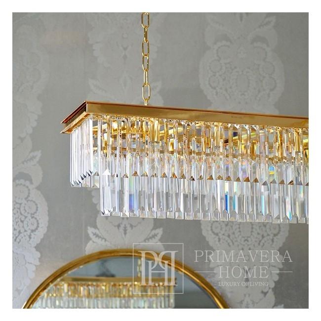 GLAMOUR 100 gold oblong rectangular modern glamour pendant lamp crystal chandelier